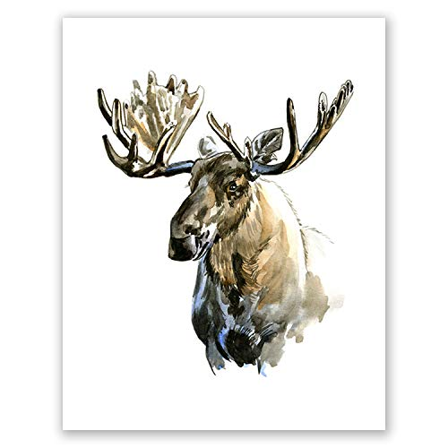 AtoZStudio A73 Moose Nursery Wall Art Home Decor Poster Print - Woodland Watercolor Animal Artwork Picture Painting // Baby Room Moose Head Artwork (8x10)
