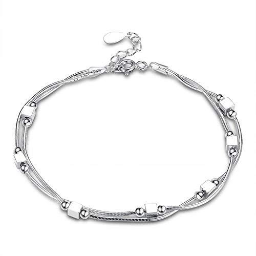 Kim Johanson Edelstahl Damen Fußkettchen *Cube* in Silber mit beweglichen Quadraten inkl. Schmuckbeutel
