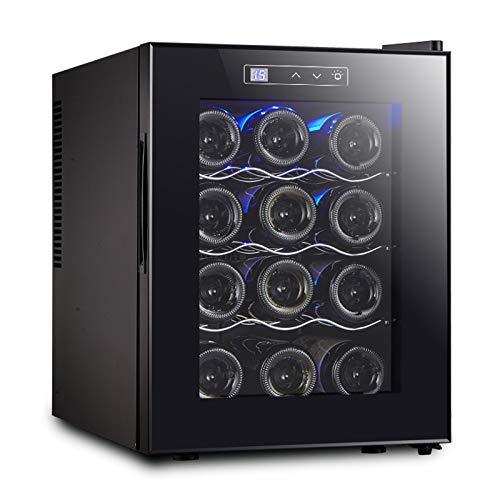 LLEH Enfriador de Vino para 12 Botellas, Nevera pequeña para vinos Gabinete de refrigerador Independiente Debajo del mostrador, Panel táctil y Temperatura Ajustable