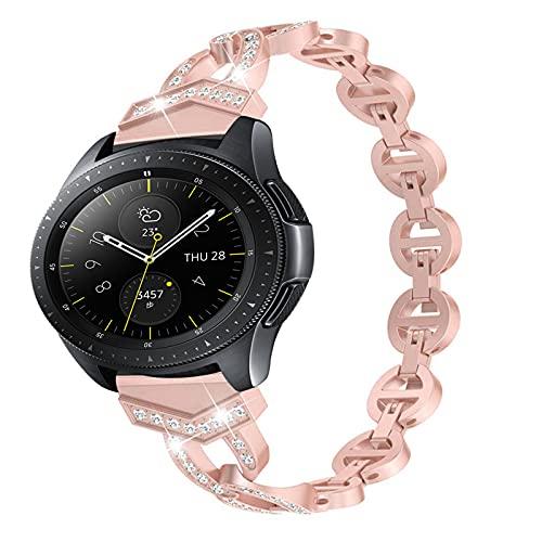 Correa De Repuesto Con Purpurina Compatible Con Galaxy Watch 42Mm / 46Mm, Pulsera De Acero Inoxidable Band De Muñeca De Metal Banda De Cristal Compatible Con Galaxy Watch 42 / 46Mm,Rose pink 20mm