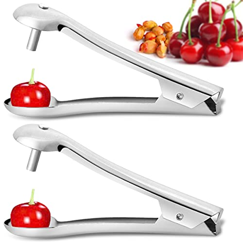 Gipizi Cherry Pitter Tool Stainless Steel Cherry Corer Pitter Ergonomical and Portable Cherry Pitting Tool for Kitchen Great for Cherry Jujube Red Date Hawthorn