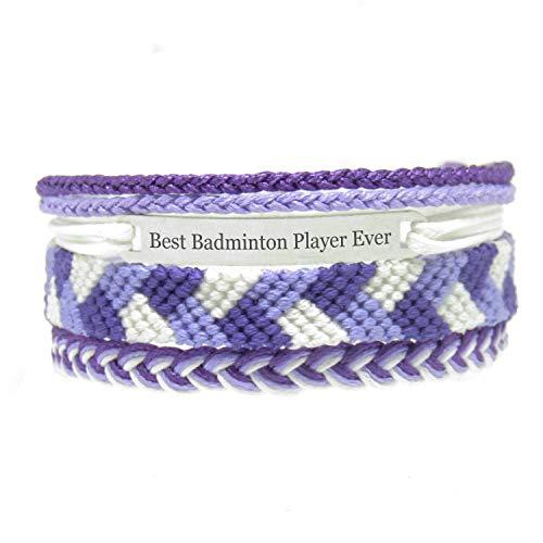 Miiras handmade friendship Bracelet for women - Best Badminton Player Ever Engraved Bracelet Set - Made of embroidery floss and Stainless Steel - Gift for Badminton Player