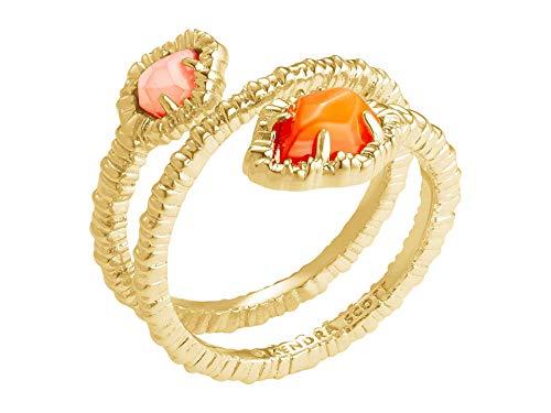 Kendra Scott Tessa Wrap Ring Gold Papaya Mother-of-Pearl 6