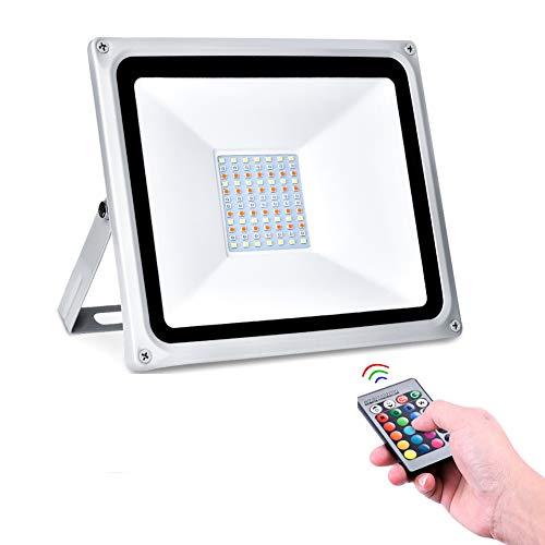 jincome Foco LED RGB de 50 W con mando a distancia, 16 colores, 4 modos, IP65 impermeable, 5000 lm, luz de seguridad que cambia de color para garaje, fábrica, gimnasia, sótano, aparcamiento, almacén
