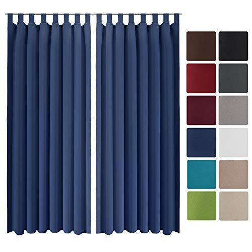 Beautissu 2er Set Gardine Blackout-Vorhang Amelie Schlaufen 140x245 cm blickdichter Schlaufenschal - Verdunklungsgardine Schlaufenaufhängung Blau
