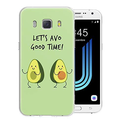 Pnakqil Funda Samsung Galaxy J5 2016, Silicona Transparente con Dibujos Diseño Slim TPU Antigolpes Ultrafina de Protector Piel Case Cover Cárcasa Fundas para Movil Samsung GalaxyJ5, Aguacate Verde
