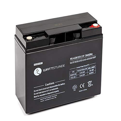 WATTSTUNDE 12V VRLA AGM Batterie - Zyklenfester und wartungsfreier 20 Ah C20 Solar Akku perfekt für autarke Anlagen mit M5 Anschluss (20Ah)