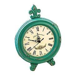 MIAIU Farmhouse Table Clock Shabby Chic Pewter Table Clock (Aqua)