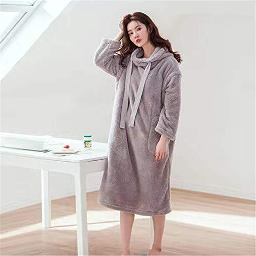 HUANSUN Camisón de Invierno para Mujer, camisón de Franela cálido Grueso, Ropa de Dormir de Manga Larga para Mujer, Ropa de Dormir de Talla Grande para Mujer, Color1, XL
