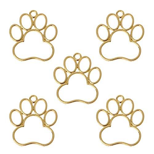 XKMY Etiqueta de identificación para mascotas 5 piezas perro huella en blanco marco colgante bisel abierto ajuste joyería resina