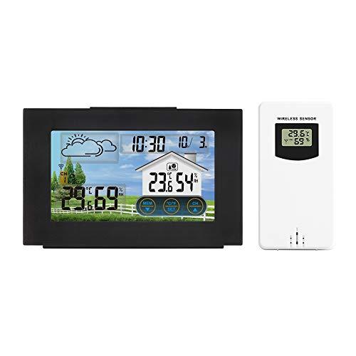 HITECHLIFE Estación Meteorológica con Al Aire Libre Sensor Interior, Inalámbrico Digital Despertador Barómetro Temperatura Monitor De Humedad Pronóstico del Tiempo para Hogar Jardín