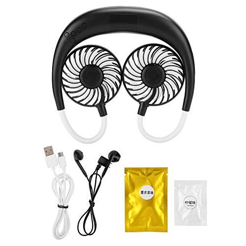 Ventilator, nek miniventilator, draagbare USB-koelventilator, Power Bank Bluetooth-audioradio, voor buitenreizen, met praktische adoptie(Zwart)