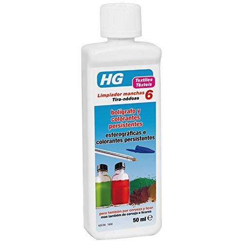 HG Limpiador manchas de nr. 6 50 ml - Eficaz limpiador de tinta de bolígrafo de la ropa - Manchas persistentes de cerveza y licor