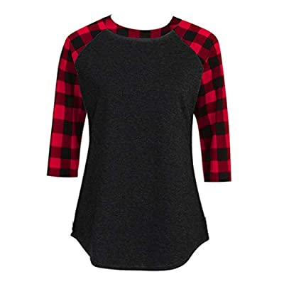 STORTO Women Plaid Sweatshirt Long Sleeve Stitching Pullover Patchwork Lightweight Tunic Tops