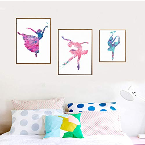 XWArtpic Aquarell Ballett Mädchen Wandkunst Bilder Leinwand Gemälde Nordic Poster Drucken für Kinder Schlafzimmer Wohnkultur X 3 stücke