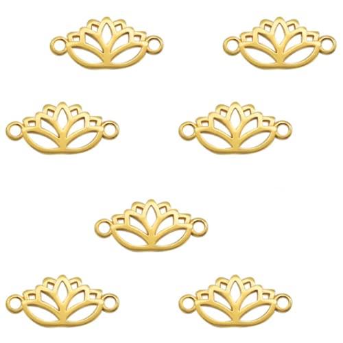 Sadingo Juego de 7 conectores para joyas, diseño de flor de loto, 27 x 13 mm, color dorado