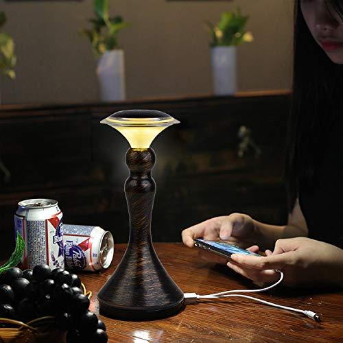 ACMHNC Lámpara de Mesa Bar Inalámbrica LED,Lámpara de Escritorio USB Con Interruptor Táctil,Lámpara de Mesa Recargable, Luz Ambiental 3 Brillos Para Restaurante,Cafe,Interiores y Exteriores,Marrón