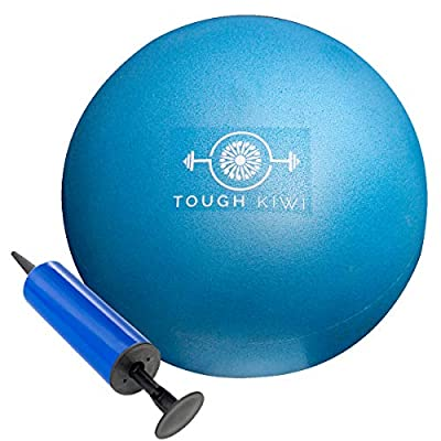 Tough Kiwi 9 Inch Mini Exercise Ball and Pump - Home Fitness Workout Ball for Stability, Barre, Pilates, Yoga, Core Training and Physical Therapy