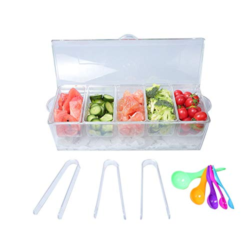 MorTime Ice Chilled Condiment Server with 5 Removable Compartments, Clear Sauce Caddy Serving Tray Container with Lid, Set of 5 Serving Spoons & 3 Tongs Included