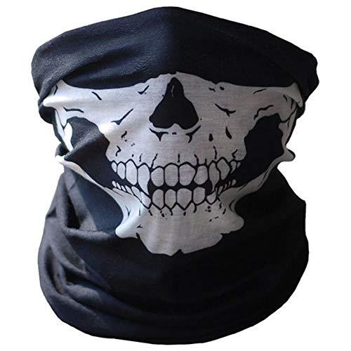 ATJNCAV Skull Face Mask Máscara de equitación al Aire Libre Bicicleta Ski Skull Half Face Mask Ghost Scarf Multi Use Neck Warmer