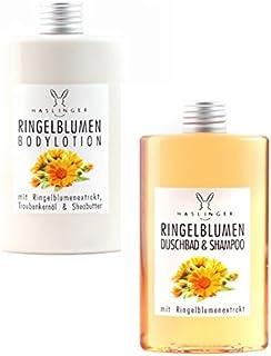 Lashuma Ringelblumen Duschbad & Shampoo und Bodylotion mit Ringelblumenextrakt, Geschenkset 2x 200 ml
