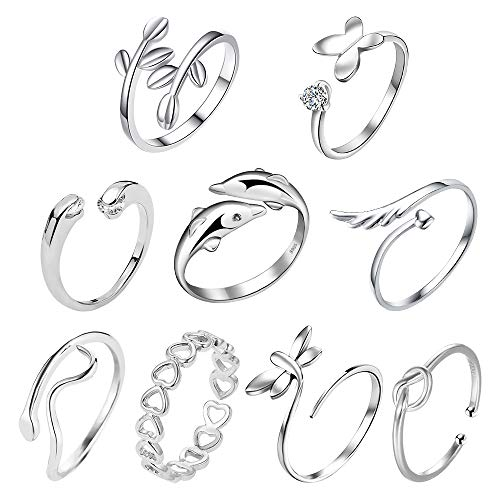 TUPARKA 9Pcs Silver Open Rings Set Knot Adjustable Finger Ring Joint Ring Toe Ring Beach Jewelry Gifts for Women Girls