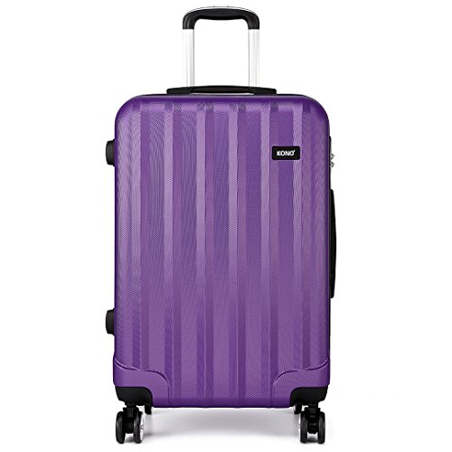 "Kono 28"" Luggage Sets Super Lightweight PC Suitcase 4 Wheels Spinner Luggage Vertical Strip Travel Trolley Case in Purple (28-inch)"