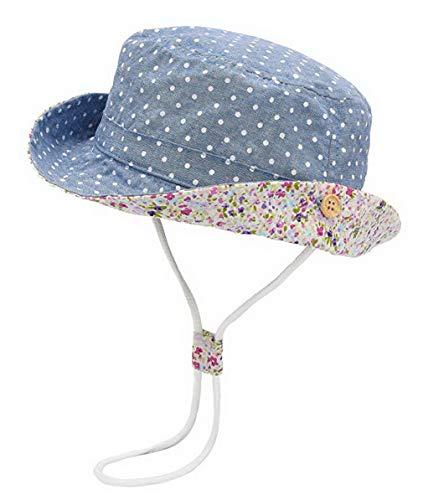 DEMU Baby Hut Sonnenhut Sonnenschutz Strandhut Kinder Sommerhut Wendehut UV-Schutz Sommermütze Blau Punkt Hut Umfang 54cm