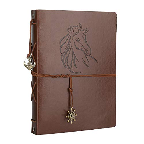 Scrapbook Album, AIOR DIY Photo Album Vintage Leather Memory Book Self Adhesive Wedding Guest Book, 11 x 8.3 inches 60 Pages, Vacation Gifts Birthday Anniversary Presents for Women Men Mom Dad, Horse