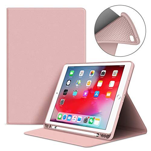 VAGHVEO Funda para iPad 9.7 Pulgadas 2017/2018, iPad Air/Air 2 Smart Case con Soporte para Lápices, Flexible Suave TPU Cubierta Trasera Cover Protectora[Auto-Sueño/Estela] para iPad 5/6ª, Rosa