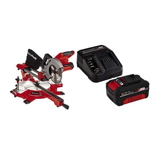 Einhell Ingletadora telescópica TE-SM 36/210 Li-Solo Power X-Change (Ø210x Ø30 mm, sin batería y cargador) + Kit con Cargador y batería de repuesto, Negro, Rojo, 4.0, Tiempo de Carga: 60 Minutos