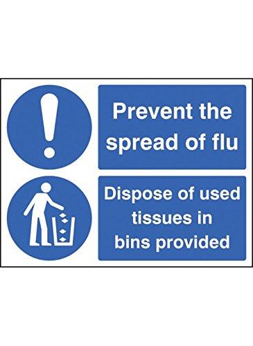 Caledonia Signs 25502E Schild zur Verhinderung der Ausbreitung der Grippe – Entsorgung von gebrauchten Tüchern in Behältern, selbstklebendes Vinyl, 200 mm x 150 mm