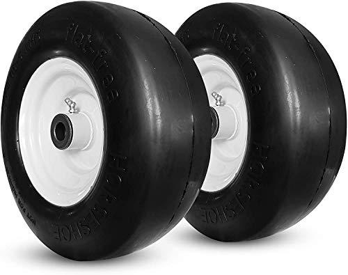 "New 11x4.00-5 Flat Free Smooth Tire w/Steel Wheel for Zero Turn Lawn Mower Garden Tractor -hub Length 3""-5"" -Bore ID 3/4"" 114005 (2)"