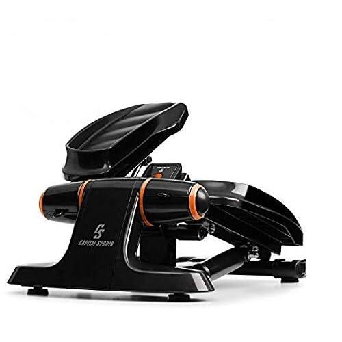 Capital Sports Galaxy Step - Ministepper, Carico Massimo: 120 kg, Superfici Premium, Computer Multifunzione con Display LCD, incl. Power Rope, Shock-Absorbing-System Idraulico, Arancione
