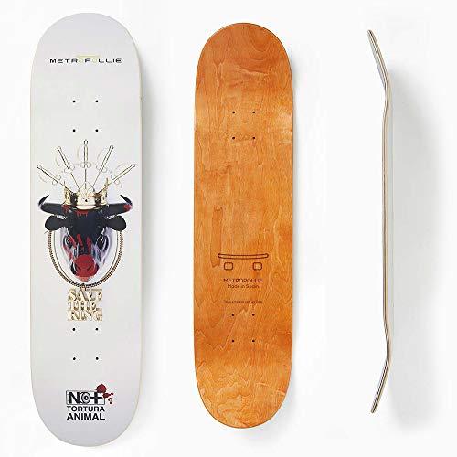 Metropollie Tabla de Skate Cabeza de Toro, Skate para Niños Niñas Adolescentes Adultos Principiantes, Tabla de 7 Capas 100% Madera de Arce Canadiense Hard Rock, Negro, 8.0 Pulgadas