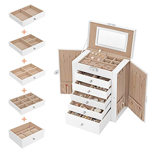 Drawers for Bracelets Earrings Rings Necklaces Watches Black JBC152B01 6-Tier Jewellery Case with Side Wings SONGMICS Large Jewellery Box Gift Idea Mirror and Clasp