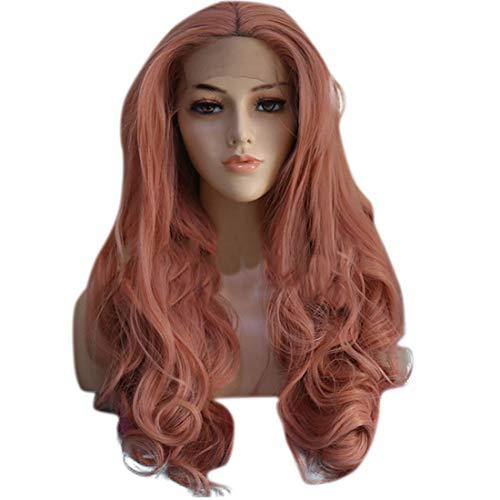 Souple Fashian couleur avant de lacet perruque européenne et américaine Mesdames Big Wavy longue perruque de cheveux bouclés moelleux fashion (Couleur : Photo Color, Size : 24 inches)