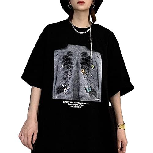 Y2K Harajuku - Camiseta de manga corta para mujer, diseño gótico, punk, calavera y esqueleto D XL