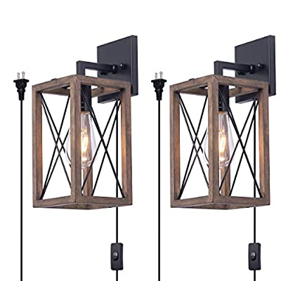VILUXY Wood Wall sconces Retro Industrial Rectangle Bedside Wall Sconce Plug-in Cord with Switch Lighting Fixture Black Wall Lamp for Bedroom, Hallway, Entryway, Passway, Dining Room 2 Pack
