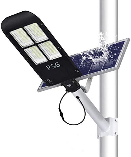 300W Solar Street Lights Outdoor Lamp, 480 LEDs 12000 Lumens with Remote Control,Light Control, Dusk to Dawn Security Led Flood Light for Yard, Garden, Street, Basketball Court