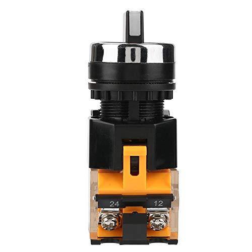 Akozon Interruptor rotativo momentáneo 22mm 2 posiciones Selector de reinicio automático Interruptor rotatorio momentáneo LA38-11BX22