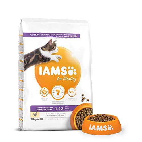 IAMS Vitality - Croquettes Super Premium Chatons - savoureuses complètes équilibrées - Favorise Croissance et Vitalité - Au poulet frais – Sans OGM colorant arôme artificiel - Sac refermable de 10 kg