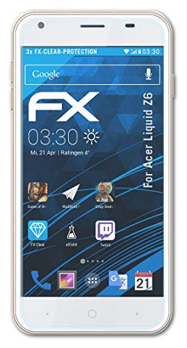 atFolix Schutzfolie kompatibel mit Acer Liquid Z6 Folie, ultraklare FX Bildschirmschutzfolie (3X)
