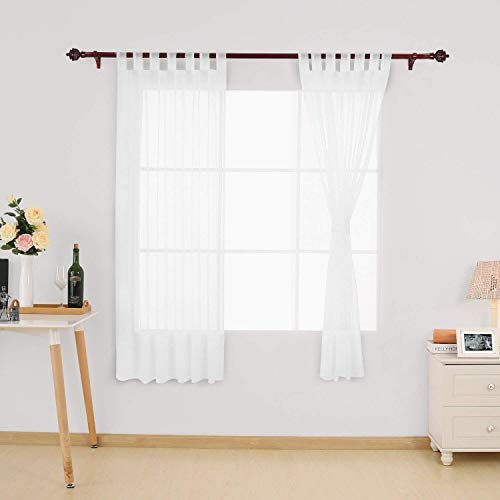 Deconovo Home Decorations Semi Transparent Curtain Voile Panels Back Tab Top Curtains Voile Sheer Curtains for Window 55 x 69 Inch White Two Panels