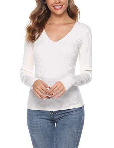 iClosam Mujer Ropa Sexy Cuello V Camisetas Blusas Sueltas Camisas De Manga Larga Tops SuéTer