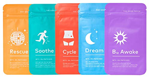 The Good Patch All The Plant Patches Mixed Bundle. Perfect for Life's Untimely, Yet Common Ailments. 5 Varieties: B12 Awake, Dream, Rescue, Cycle, Soothe. - 20 Total Patches*