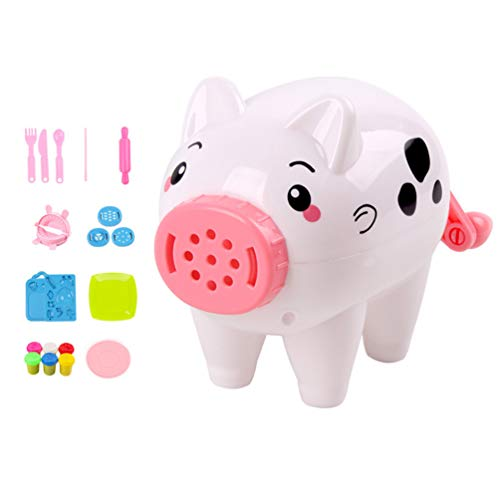 Toyvian Play Dough Clay Set Clay Molding Clay Dough Tools Set Pig Noodle Maker Pretend Play Toy Kit for Children 21pcs (White)
