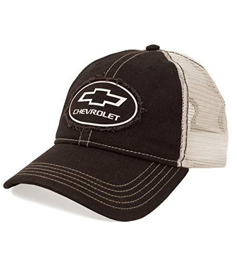 Tee Luv Chevy Bow Tie Logo Patch Hat | Vintage Trucker Style Hat | Licensed Chevrolet Design,Black, White