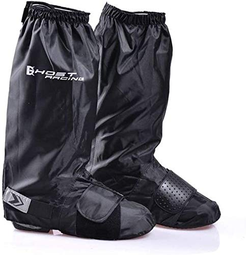 DYB Cycling shoe covers waterproof Shoe Cover Bicycle And Motorcycle Riding Rain Boots Cover Thick Wear-resistant Bottom Waterproof Leggings High Foot Cover Black Gaiters (Color : Black, Size : L)