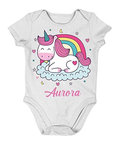 Incidiamo Body da Neonato Personalizzato Unicorno - Mamma e papà con Il Nome Personalizzato - Idea Regalo